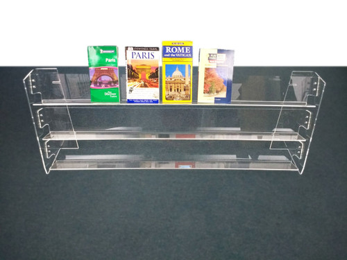 long clear acrylic countertop shelf, back aisle specials, clear solutions