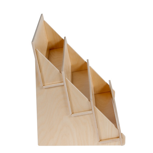 Birch Ply Three Tier Countertop Display with Wooden Front Lip - side View
