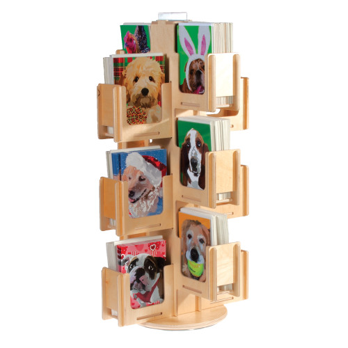 424-PC Clear Solutions all wood countertop spinner for greeting cards