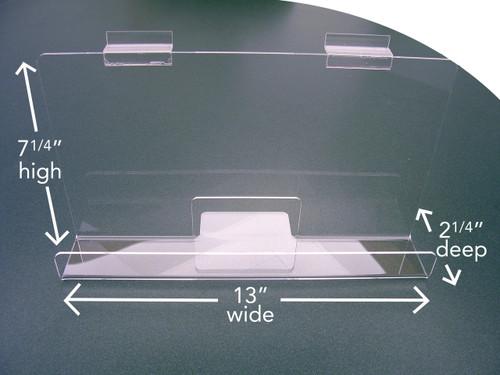 "Back Aisle Special - 13"" wide Slatwall Shelf with measurements"