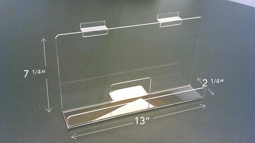 """Back Aisle Special - 13"""" wide Slatwall Shelf angled view with measurements"""
