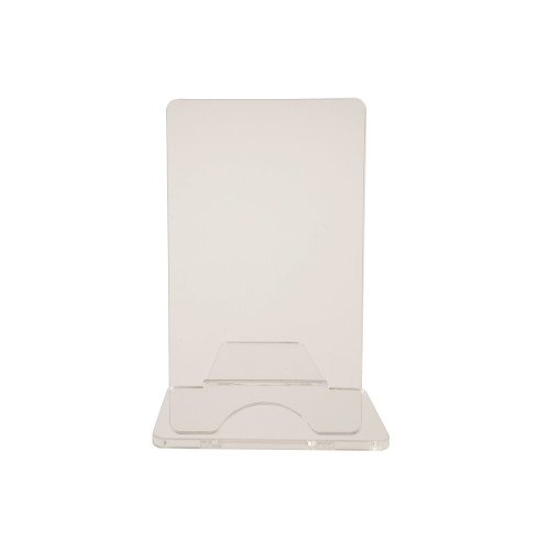 Simple two-part clear acrylic easel.