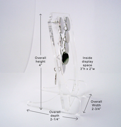 Clear acrylic small easel for earrings, measurements.