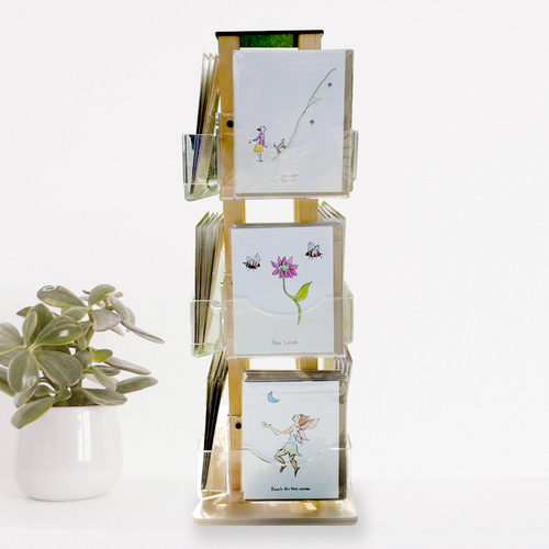 910-12 Clear Solutions small wooden spinner greeting card display with Rosie's Wonders Cards.