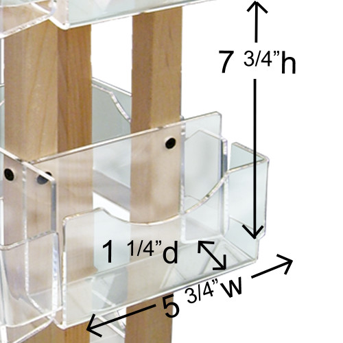 910-12 Clear Solutions small wooden spinner greeting card display pocket with measurements.