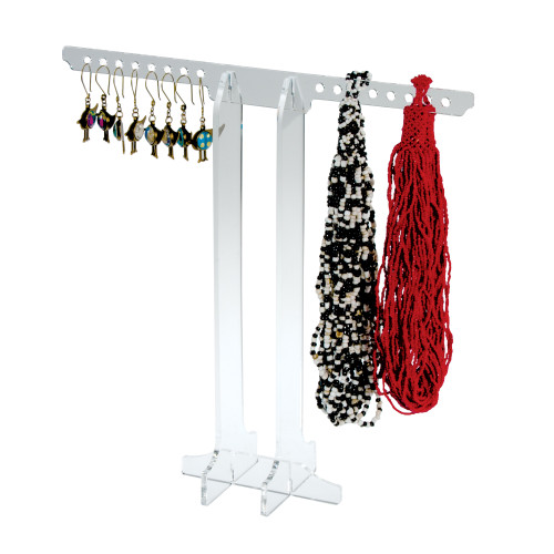 8788 Jewelry display - clear acrylic, break down, necklaces and earrings