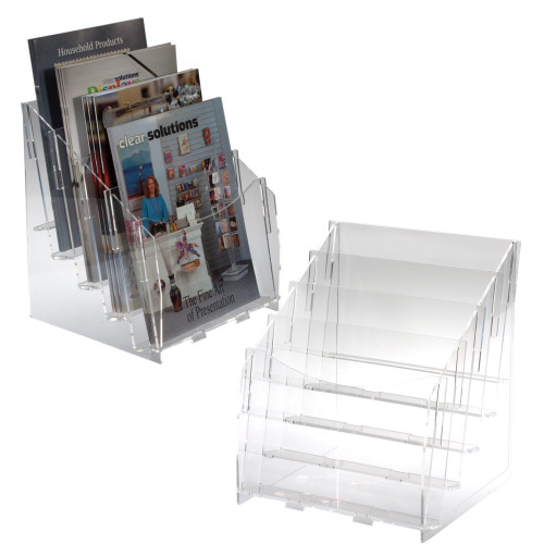 8327 Magazine four (4) level clear acrylic display