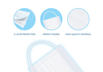 Protekx, protective face mask, white, soft & easy to breathe through with nose bridge, disposable, 50pcs/box, elastic band for comfort fitment, 3-Ply non-woven Polypropylene and non-melt blown woven, adjustable nose bridge to ensure a better fit, high breathability, Soft and comfortable, Manufactured in an FDA approved facility, manufactured in an ISO 13485 certified facility, disposable, for single use only, 50pcs per box, latex free construction, 510K approved, FDA, Protection for the nose and mouth from droplets both inhaled and exhaled, help minimize contamination and reduce the risk of exposure to fluids, high filtration, >99.9% BFE (organic/bacteria filtering blocks up to 99.9% of biologicals that are 3 micron or larger), >99.5% PFE (In-organic/solid filtering blocks up to 99.5% of particles that are 0.1 micron or larger), fluid resistant to ASTM F1862 and ISO 22609 at 120mmHg, flame resistance to ASTM F2100, nelson Labs, reduces exposure to blood and bodily fluid but does not eliminate the risk of contracting any disease infection, flat mask, surgical, three layers