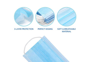Protekx, protective face mask, blue, soft & easy to breathe through with nose bridge, disposable, 50pcs/box, elastic band for comfort fitment, 3-Ply non-woven Polypropylene and non-melt blown woven, adjustable nose bridge to ensure a better fit, high breathability, Soft and comfortable, Manufactured in an FDA approved facility, manufactured in an ISO 13485 certified facility, disposable, for single use only, 50pcs per box, latex free construction, 510K approved, FDA, Protection for the nose and mouth from droplets both inhaled and exhaled, help minimize contamination and reduce the risk of exposure to fluids, high filtration, >99.9% BFE (organic/bacteria filtering blocks up to 99.9% of biologicals that are 3 micron or larger), >99.5% PFE (In-organic/solid filtering blocks up to 99.5% of particles that are 0.1 micron or larger), fluid resistant to ASTM F1862 and ISO 22609 at 120mmHg, flame resistance to ASTM F2100, nelson Labs, reduces exposure to blood and bodily fluid but does not eliminate the risk of contracting any disease infection, flat mask, surgical, three layers