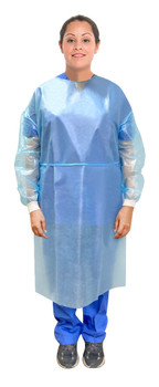 Protekx, Isolation gown with knitted cuffs, blue, PP & PE, Lightweight, Fluid resistant, with neck & waist tie closures, Disposable, AAMI: Level 2 standard, neck ties, full back, FDA approved