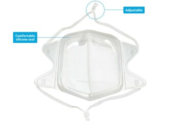 Protekx, N95 Respirators, Foldable Mask With Adjustable Straps and Premium Grade Silicone Seal, White, Emergency Utilization Authorized, FDA approved, Disposable, for single use only, Use to filter particles from metals, wood, minerals, coal, iron ore, cotton, pollen, flour and certain other substances, as well as liquid or non-oily particles from aerosols, NaCI filtration efficiency ≥95%, Inhalation/exhalation resistance ≤25mmH2O, NIOSH number: TC-84A-8131, Non woven fabric, melt-blown non woven fabric, silicone, Polypropylene, bulk , 1 carton, 30 boxes