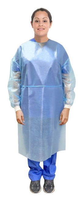 Isolation gown with knitted cuffs, blue, PP & PE, Lightweight, Fluid resistant, with neck & waist tie closures, Disposable, AAMI: Level 2 standard, neck ties, full back, FDA approved