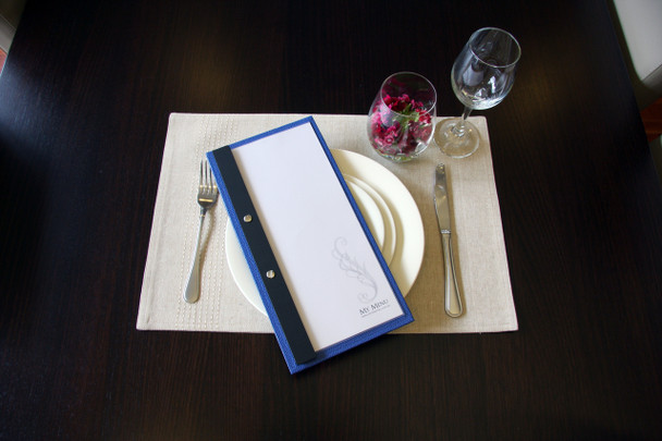 Slimline Chicago Linen Menu Board - Side Bound