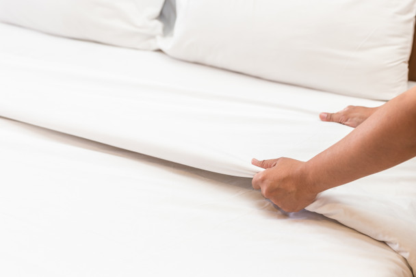 Our exclusive and luxurious Signature Commercial Sheets are crisp white, easy-care and durable.  The hotel quality 180 thread count percale bed sheets are constructed of quality fibres for a soft yet crisp feel and luxurious heavy weight. Our Signature Commercial Sheets are a blend of 50/50 polyester cotton which is both breathable, absorbent and durable. The 50/50 blend prevents fabric from shrinking and resists stains and wrinkles for easy care. Commercial grade quality, suitable for commercial laundering and longevity. An investment in commercial quality sheets is an investment in your guests and your rooms. Percale refers to the weave of the material, which is closely woven, producing a tighter and smoother fabric that creates a high quality product. An upscale plain weave with a thread count of 180 or higher known for its longevity and crisp feel.  Features:  •180 thread count •50/50 polyester cotton  •Easy-care •162gsm •Double stitched side hems to ensure durability •Absorbent •Easy to wash •Quick to dry