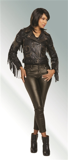 Love the queen 17315 Fringed Leatherette Jacket