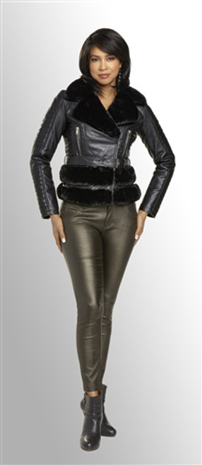 Love the Queen 17316 Fur and Leatherette Jacket