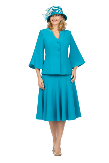 Giovanna 0730 Skirt Suit - Turquoise