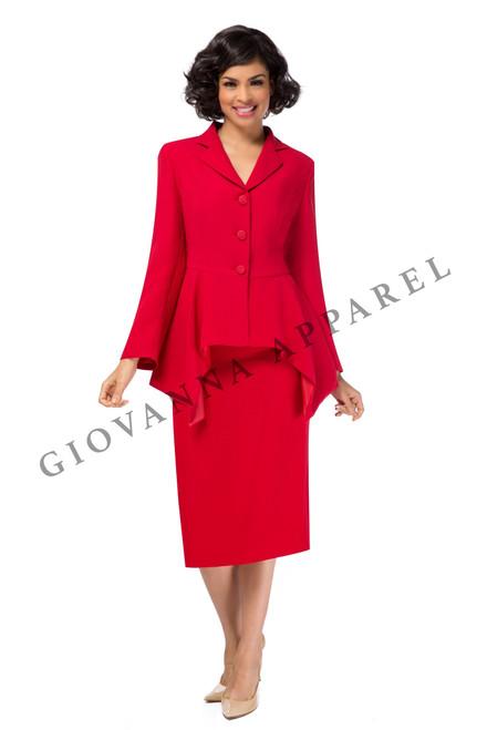 Giovanna 0917 Usher Skirt Suit - Red