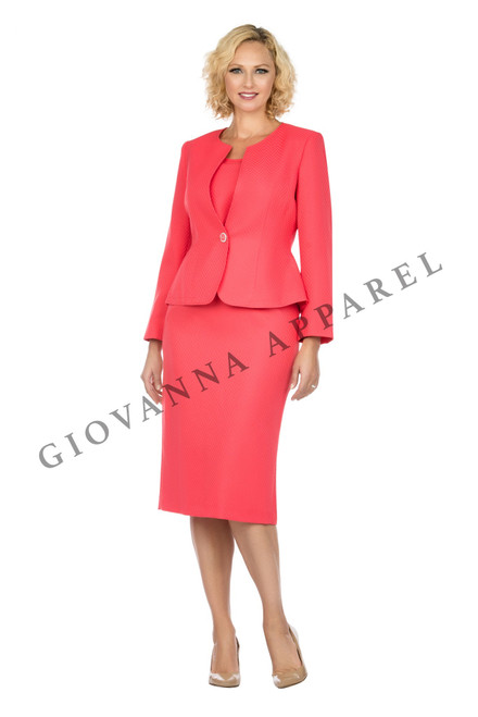 Giovanna S0713 3Pc Skirt Suit - Coral