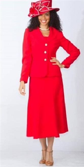 Lily Taylor 7338 Skirt Suit - Red