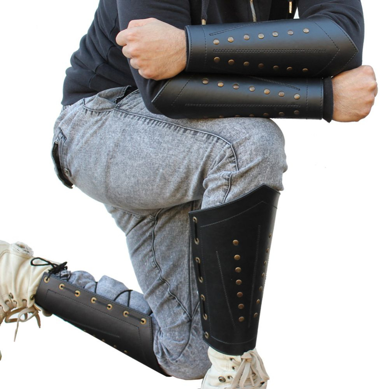 Ranger Thief Sable Black Studded Leather Light Armor Laced Greaves