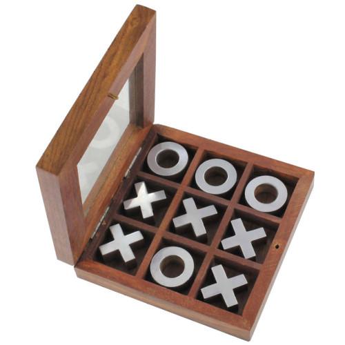 Executive Wooden Tic-Tac-Toe Desktop Game