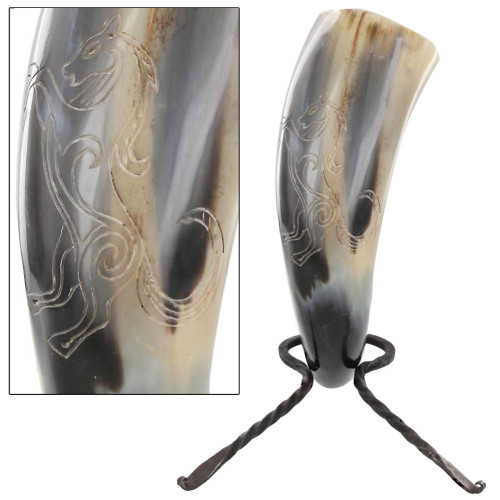 Untamed Stallion Medieval Dining Hall Drinking Horn with Rack
