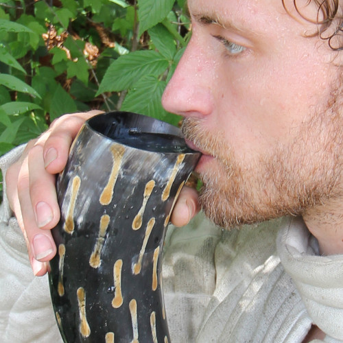 Fire Burned Medieval Drinking Horn with Black Leather Holder