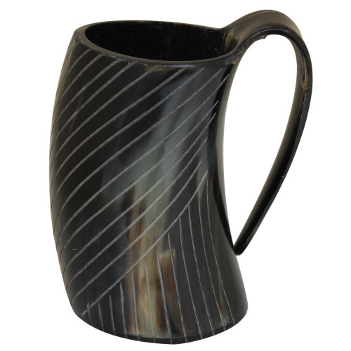 Bottoms up Horn Engraved Tankard