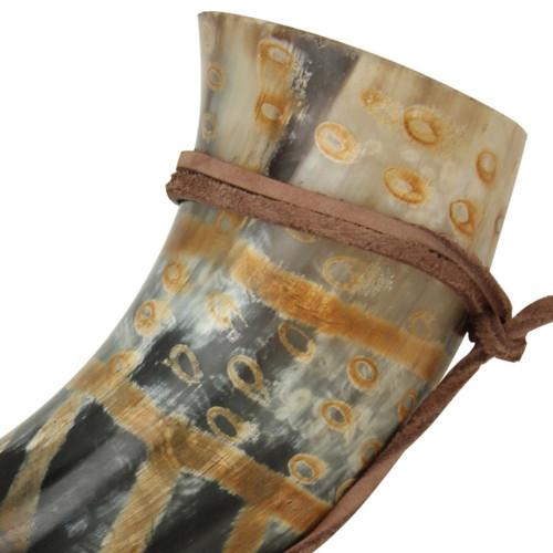 Snakeskin Medieval Drinking Horn with Leather String Holder