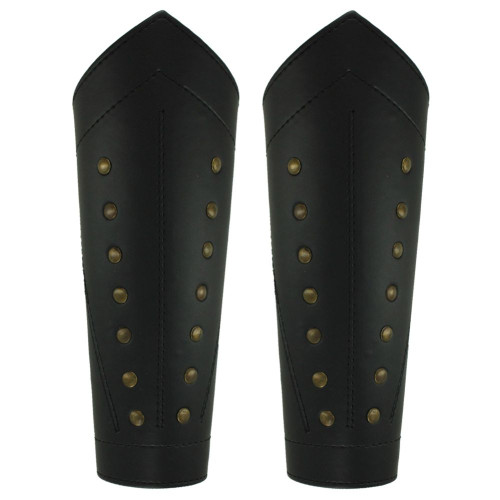 Rangers Sable Studded Leather Greaves