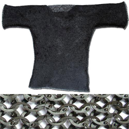 European Flat Ring Rivet Chain Mail Hauberk Black