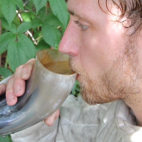 German Drinking Beer Horn Medieval