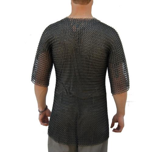 Medieval Half Sleeve Habergeon Blackened Chainmail Medium