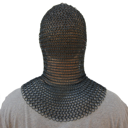 Medieval V Face Blackened Mild Steel Chainmail Coif Armor