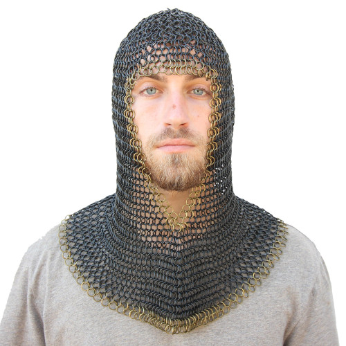 Medieval V Brass Face Mild Steel Chainmail Coif Armor
