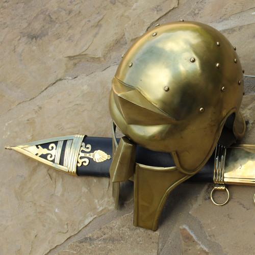 Roman Gladiator Arena Brass Spike Helmet