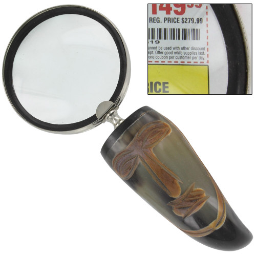 Vroulike Tribal Cow Horn Executive Magnify Glass Desk Accessory