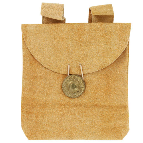 Medieval Golden Suede Leather Pouch