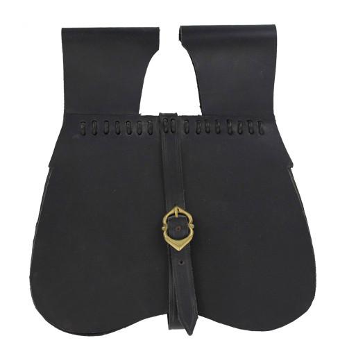 Medieval Renaissance Simple Black Leather Soldier Pouch