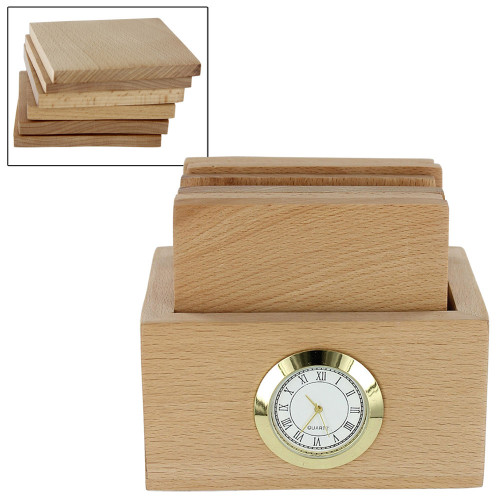 Classical Time in a Box Wooden Coasters