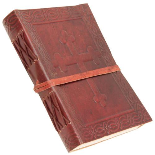Angelic Celtic Cross Embossed Handmade Leather Journal