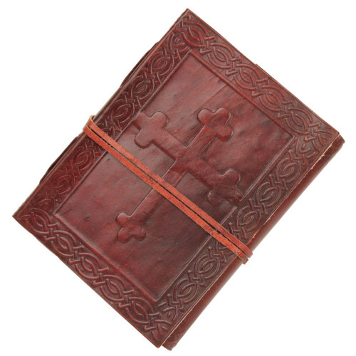 Angelic Celtic Cross Embossed Handmade Leather Journal