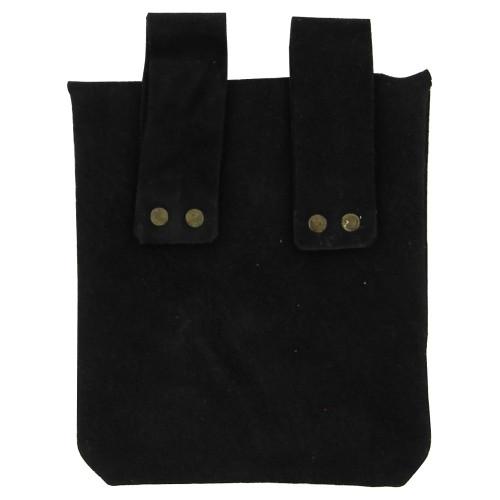 Medieval Renaissance Leather Black Suede Pouch