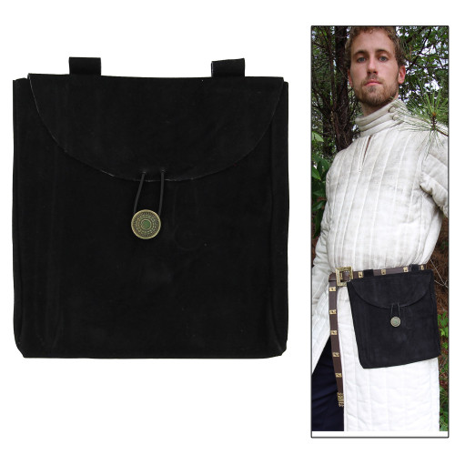 Medieval Renaissance Leather Black Suede Pouch Large