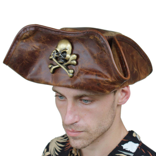 Skull & Crossbones Pirate Hat Handmade Real Leather
