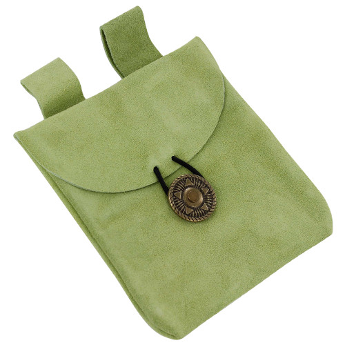Growth of Life Green Suede Leather Pouch