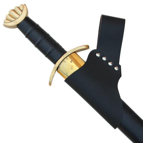 Medieval Renaissance Sword Leather Frog Black