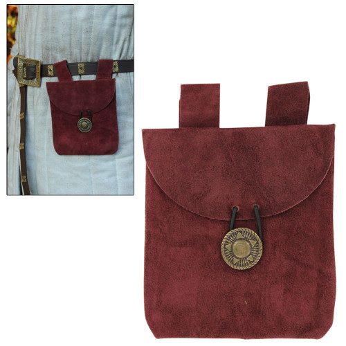 Suede Wine Berry Petite Belt Pouch