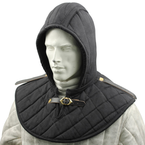 Cotton Padded Collar Armor And Cap Black